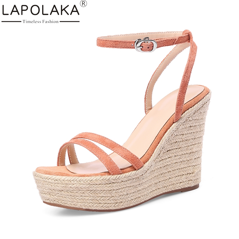 LAPOLAKA Kid Suede Genuine Leather Wedges High Heel Woman Shoes Cross Strap Solid Sweet Women Shoes Summer Sandals lapolaka 2018 brand new horsehair woman elegant wedges high heel women shoes platform black summer sandals women