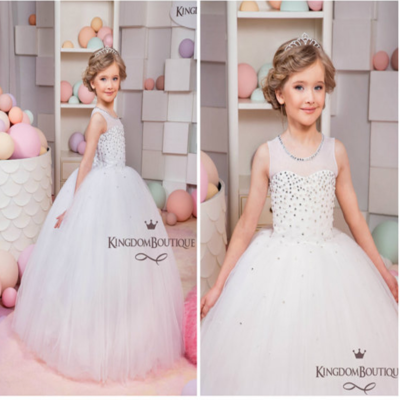 Ball Gown Flower Girls Dresses For Wedding Tulle Kids Evening Gown Hade Make Girls Clothes Mother Daughter Dresses For Girls ball gown flower girls dresses for kids evening gowns ankle length girls pageant dresses tulle mother daughter dresses for girls