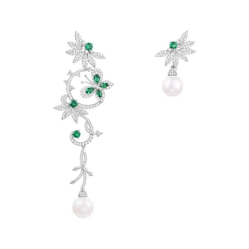 Brand New Design Mentha mint green butterfly flower asymmetric Earring 925 sterling silver long tassel pearl earrings jewelry mint green casual sleeveless hooded top