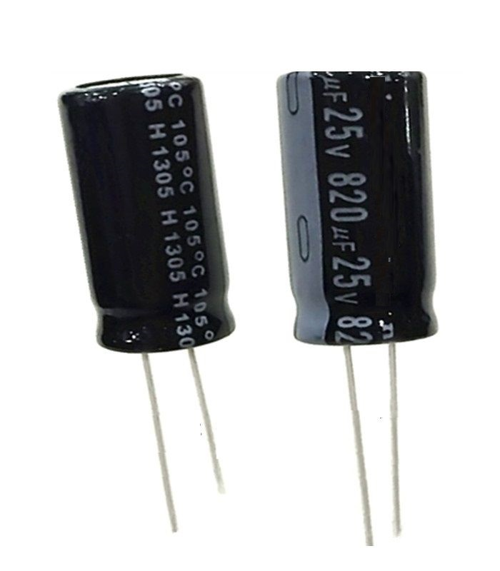 5 Pcs 820uF 25V 105C Radial Electrolytic Capacitor 10mm*20mm