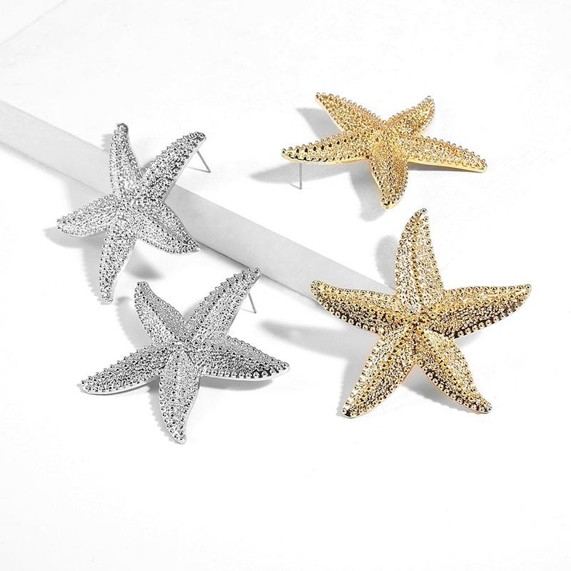 Женские серьги SRCOI, большие Винтажные серьги золотого цвета в стиле панк с морской звездой, из сплава в богемном стиле для вечеринок, 2019