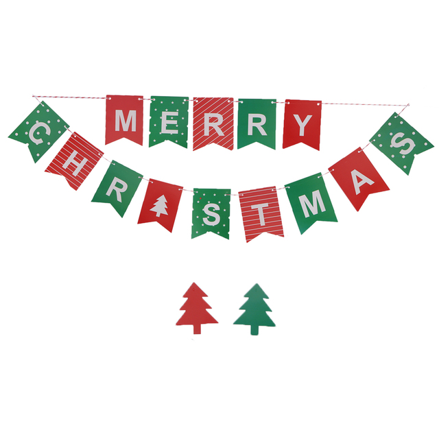 2M Bunting Banners Colorful Paper Merry Christmas Letter Pattern