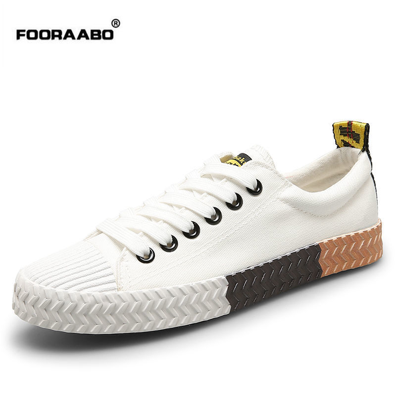 Fooraabo Spring White Canvas Shoes Men 2017 New Designer Casual Shoes Male Korean Student Cloth Flats Shoes Chaussure Homme