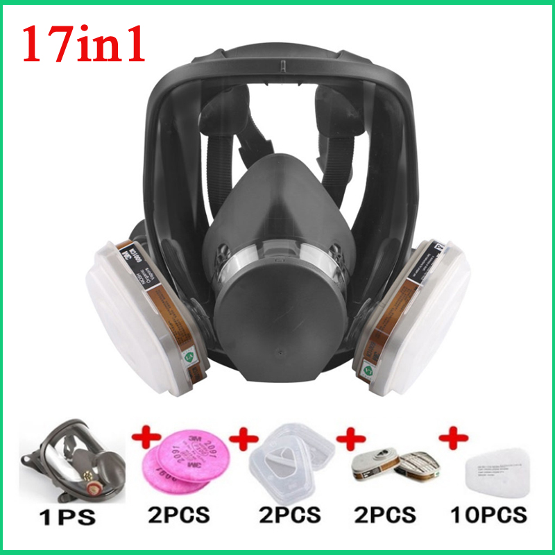 17 In 1 Painting Spraying Safety Respirator 6800 Gas Mask Full Face Mask Facepiece Respirator