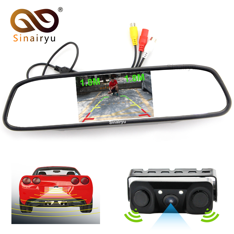 3 in1 Video Parking Assistance Sensor Radar with Rear View Camera + 4.3 inch LCD Car Rearview Mirror Monitor Video Player 3in1 car video reversing radar parking sensor with intelligent trajectory rear view camera and hd 4 3 car mirror monitor