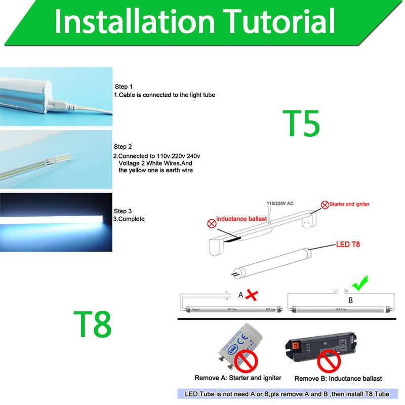 Tube de LED T5 T8 tube de LED 4 pièces/lot couverture laiteuse 10W 60CM 220V chaud froid blanc rouge bleu vert rose SMD2835 lampe LED fluorescente néon