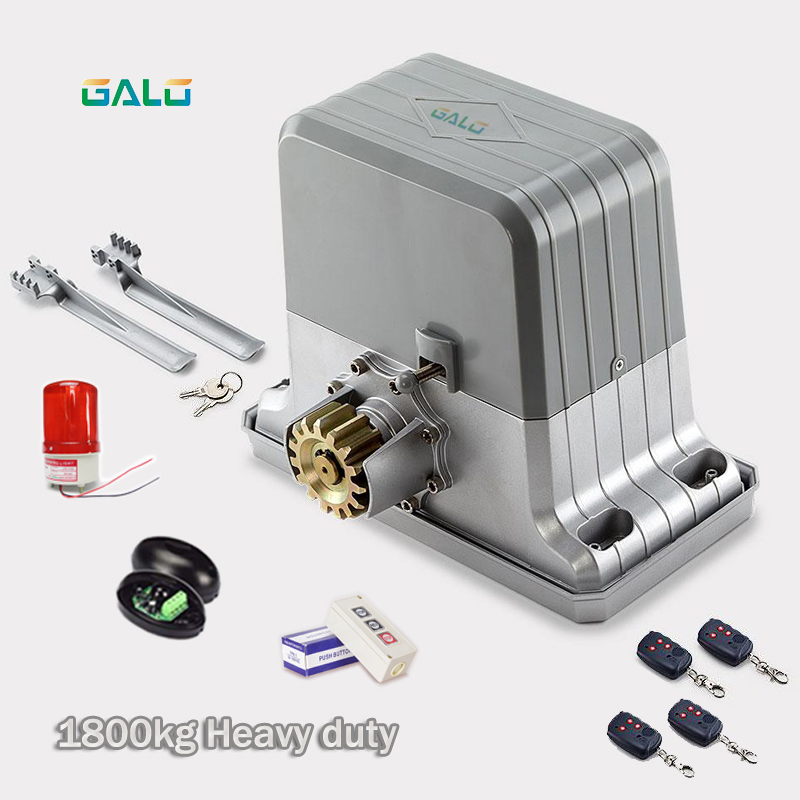 heavy duty 1800kg automatic sliding gate opener motor with remote controls(keyfobs,photocells, flash light, 3-button optional)