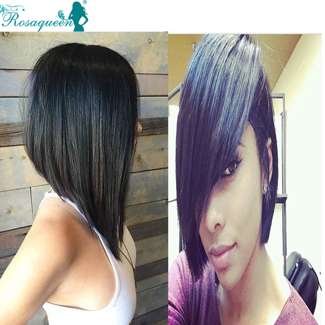 7A Brazilian Short Bob Lace Front Wig For Black Women Silky Straight Full Lace Front Human Hair Wigs Rosa Hair Products Wigs