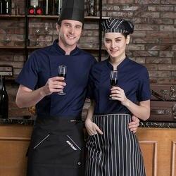 Новый мужской шеф-повар Ресторан униформа с короткими рукавами стенд Куртка с воротником Кухня Пособия по кулинарии булочно суши Cafe