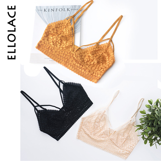 f61e79e1ab Ellolace Vintage Lace Bralette for Girl Camisoles Fashion Tank Tops  Lingerie Female Crop Top Unpadded Floral Brassiere Intimates