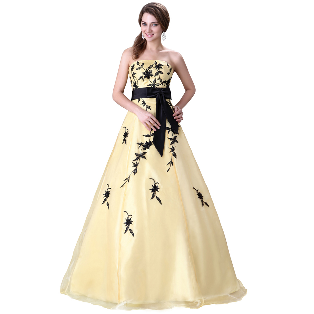 Buy hot sale strapless appliques yellow for Best stores for dresses for weddings