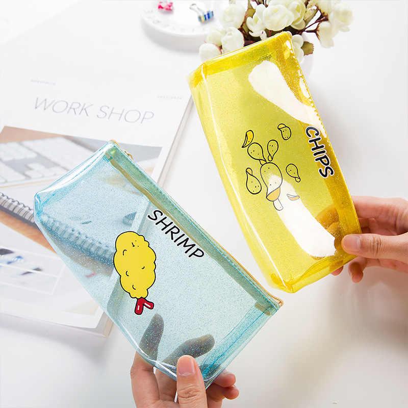 שבבי חטיפי חלב Creative מכתבים קלמר שקית עיפרון PVC שקוף חומוס ציוד בית ספר מכתבים קיד מתנות