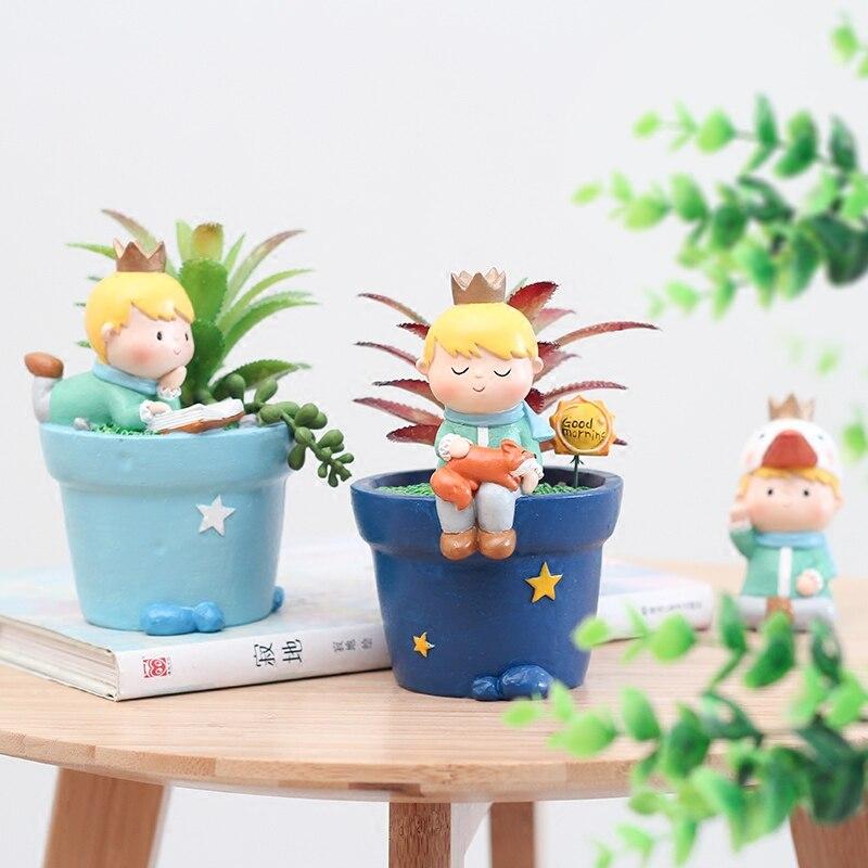Small Ornament Cute Prince Succulent Planter Pots Resin Little Boy Flowerpot Bonsai Crafts Home Garden Yard Decor Birthday Gifts