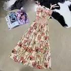 Bohemian Summer Spaghetti Strap dress Women Cotton A Line Printing Dress luxury brand dress women 2019