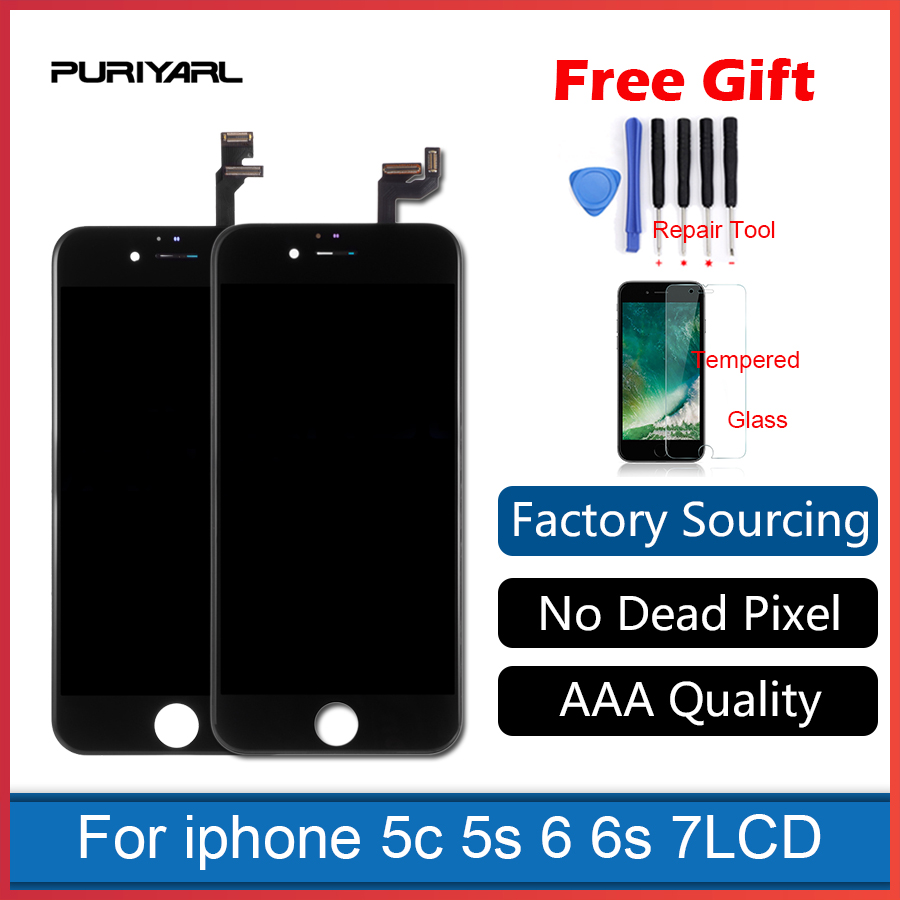 AAA Quality For iphone 5s 5c 6 plus 6s 6 7 LCD Display Touch Screen Digitizer Assembly Replacement White or black For Broken