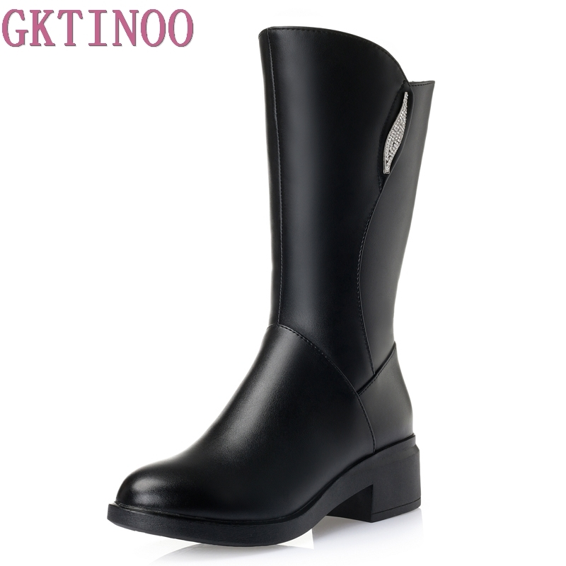 Female Zip Genuine Leather Boots Med Heel Mid Calf Boots 2017 Winter Women's Fashion Comfortable Black Plus Size Shoes double buckle cross straps mid calf boots