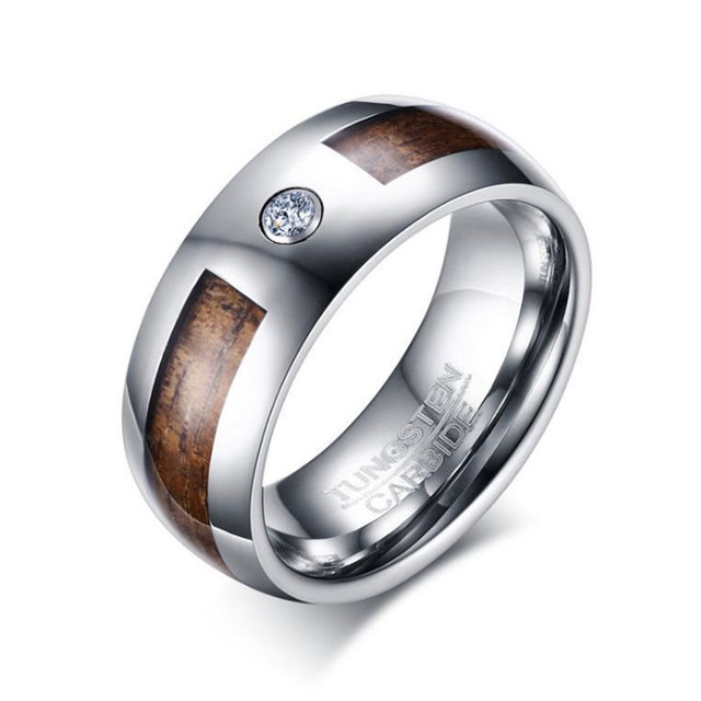 Crystal Tungsten Carbide Ring Mens Wood Inlay Wedding Band Fashion Classic Jewelry