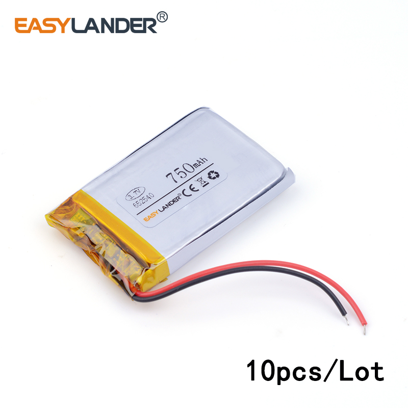 10pcs /Lot 750mah <font><b>652540</b></font> 3.7v lithium Li ion polymer rechargeable battery for toys mobile power DVR smart watch Sports bracelet image