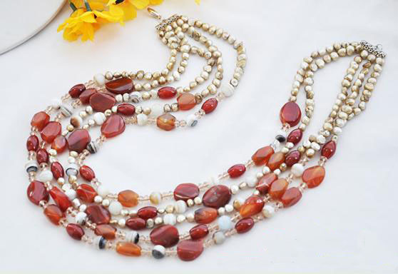 Perfect Handmade Luck Jewellery,5Rows 22inches Gray Baroque Genuine Pearls Red Faceted Aga-te Crystal Beads Necklace