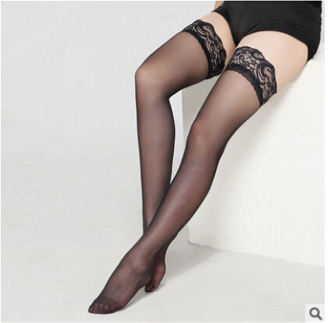 504a155d4eb31 Sexy Lace Women Plus Size STAY-UP STOCKINGS Sheer Thigh High LACE TOP  Silicone 165-275 lbs QUEEN