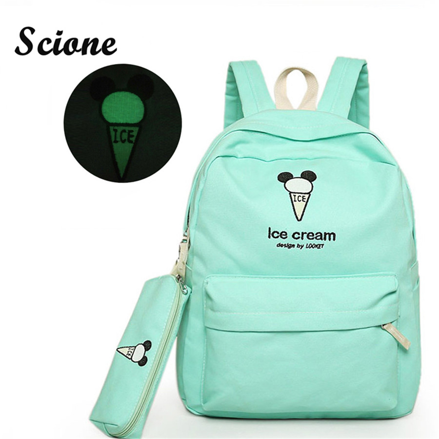 Embroidery Canvas Backpack Teenage Girl School Bags Student Luminous Back Pack Women Cute Candy Color Backpack