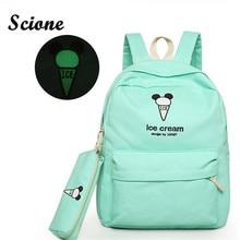 Вышивка холст рюкзак девочки-подростка, школьные сумки студент световой back pack женщин мило конфеты цвет рюкзак набор мороженое мешок