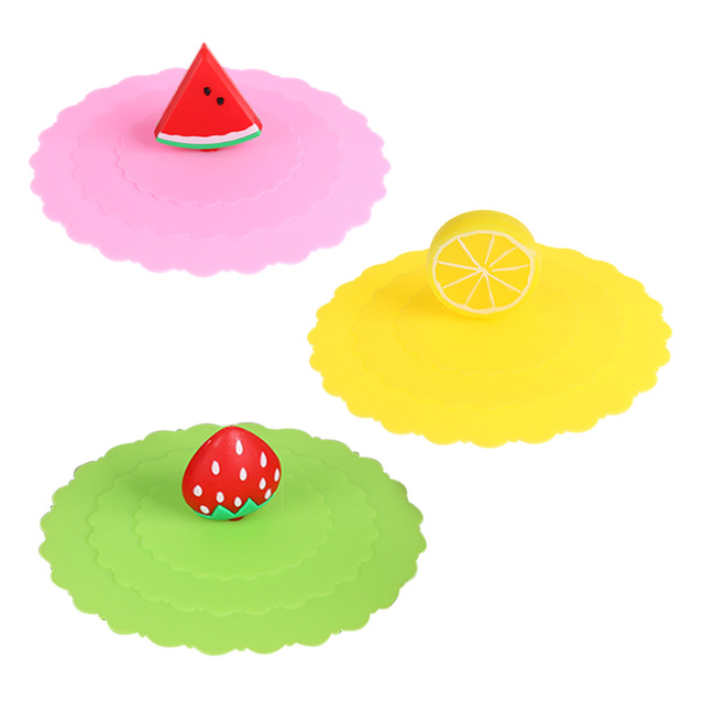 10cm Suction Lid Cap Silicone Magic Cup Cover Cute Fruit Design Sealed Anti Dust Seal Lid Cartoon Kawaii Drinkware Accessories