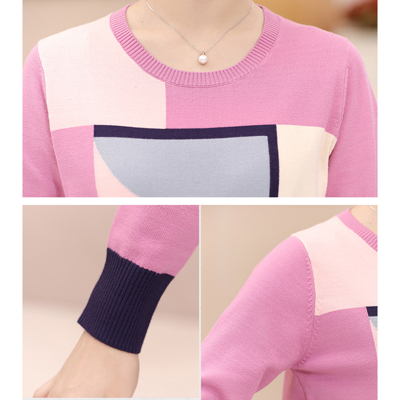 2018 Spring Autumn Loose Geometric Print Sweater Women Casual Knitted Long Sleeve Sweater Plus Size Pullovers Sweater YP1061 6