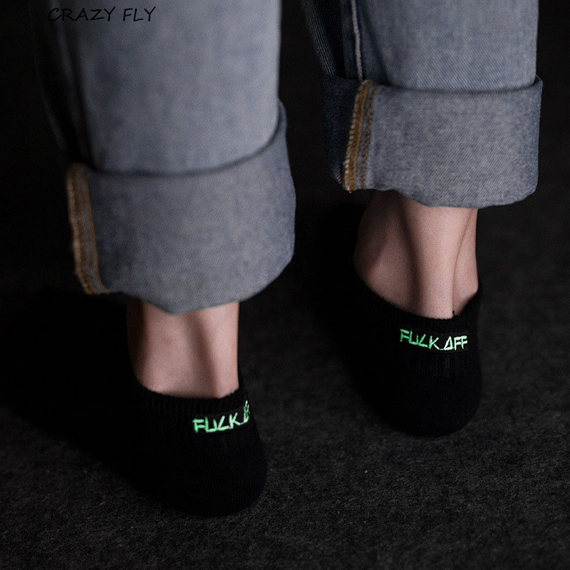 CRAZY FLY Fashion Cool Men   Socks   Funny Casual White Black Glowing Luminous Cotton   Socks   Long Unisex Women/Men Funny   Socks   2019