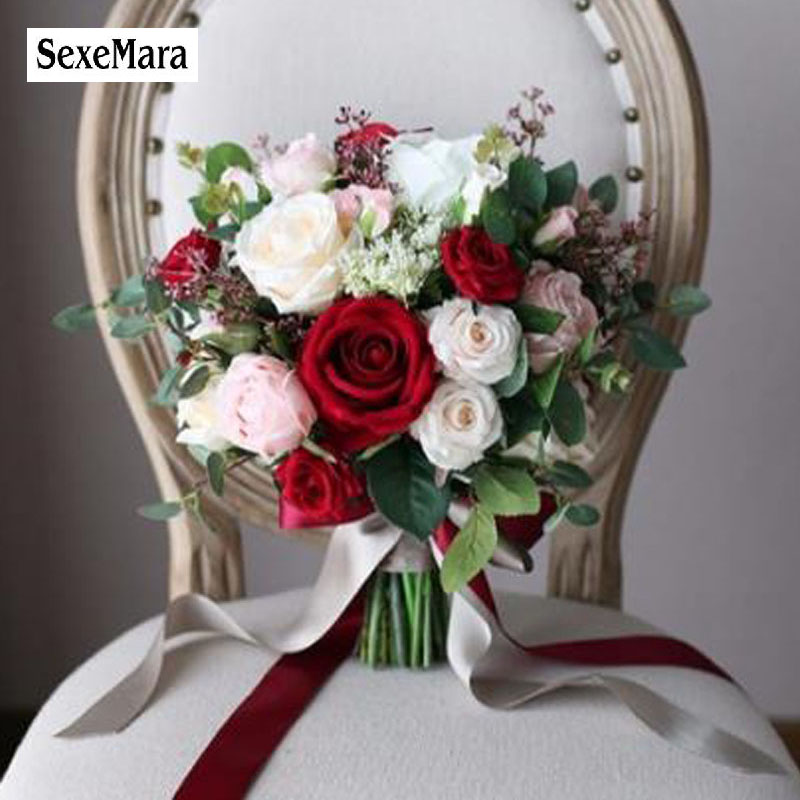 SexeMara Red rose wedding bouquet cymbidium calla lily simulation bride holding flower