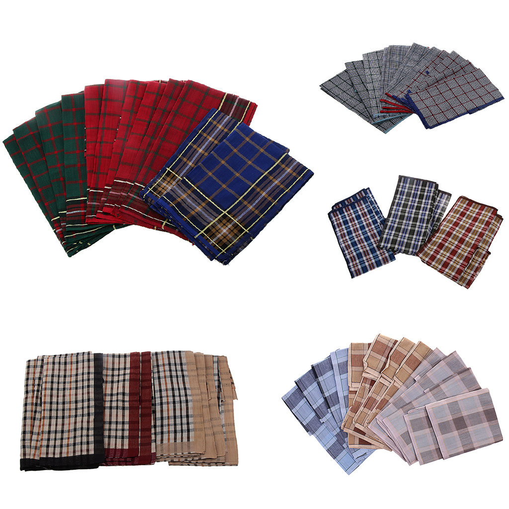 12pcs Men's Vintage Plaid Square Hankerchief 100% Cotton Elegant Hanky Wedding Party Pocket Handkerchiefs 40 X 40 Cm