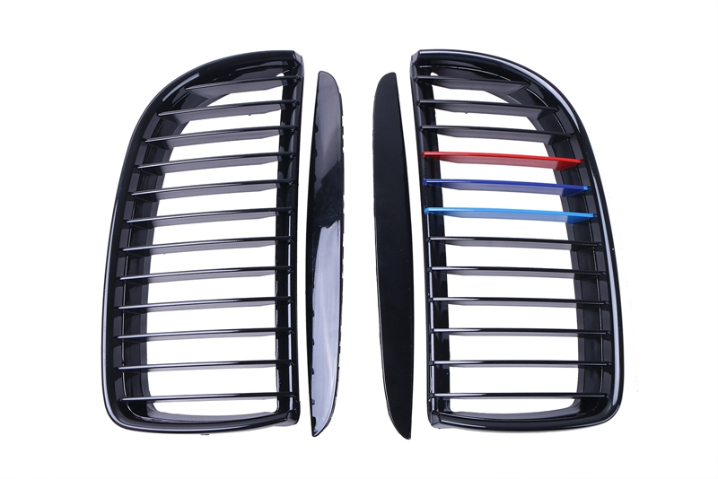 ФОТО 2pcs Front Gloss Black + M-color Kidney Grille Grill for BMW E90 2005 2006 2007 2008 Car  Sedan E91 Touring CAR-P203 C/5