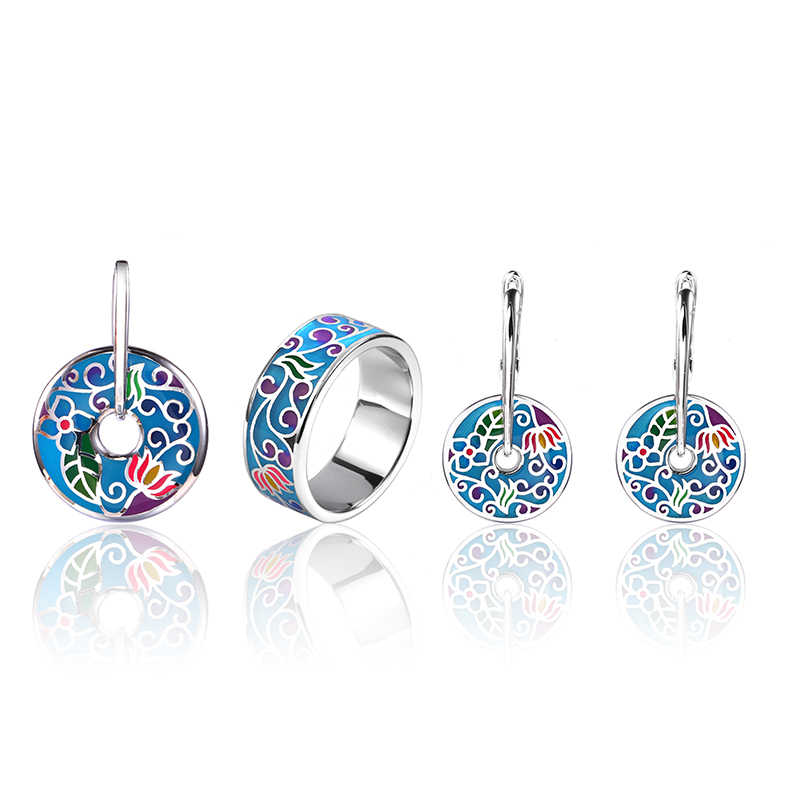 Original 925 Sterling Silver blue Enamel Jewelry Set stub Earrings Pendant ring Fashion Jewelry For Women