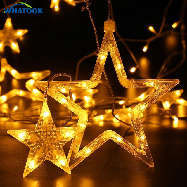 fairy star icicle led string lights 2m christmas lights 220v warm white led curtain light wedding