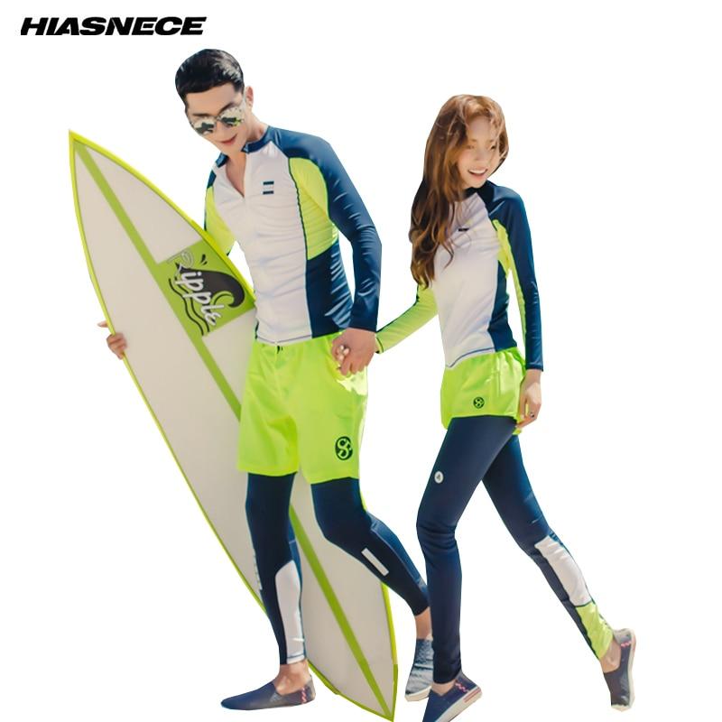 2018 Nouveau Rash Guards Hommes Femmes Avant zipper manches longues veste shorts pantalon couples deux-pièce beachwear maillots de bain rashguard