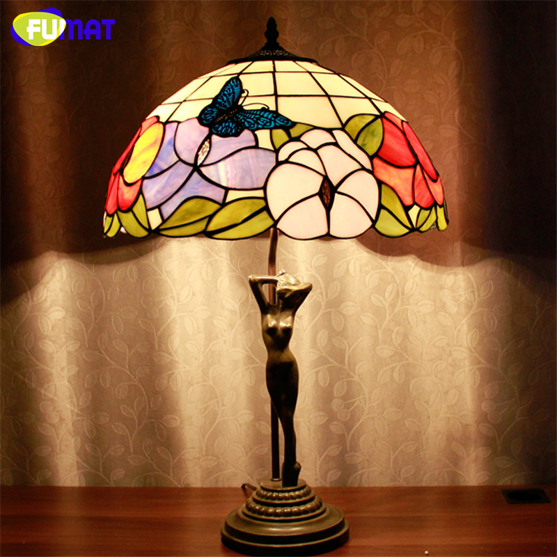 FUMAT Stained Glass Table Lamp Beauty Base Glass Lampshade Lampe Living Room Hotel Book Store Bar Decor Standing Light Fixtures