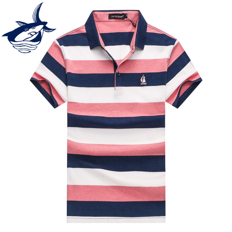 2018 Frühling/sommer Männer Striped Farbe Freizeit Polo-shirt Mode Stickerei Boot Logo Polo Shirts Tack Shark Männer Polo Jade Weiß