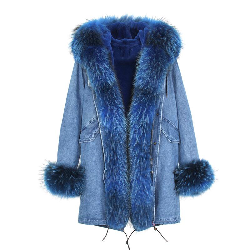 Американский стиль Горячая Распродажа Женская мода Большой настоящий Енот с капюшоном и джинсы с отворотами плюс размер толстые длинные пальто куртки верхняя одежда бренд