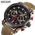 MEGIR мужские спортивные часы лучший бренд роскошные кожаные кварцевые часы мужские часы водонепроницаемые армейские военные наручные часы ...