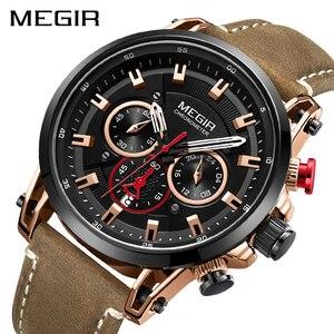 Image 2 - MEGIR relojes deportivos para hombre, de cuarzo, de cuero, militar, resistente al agua, Masculino