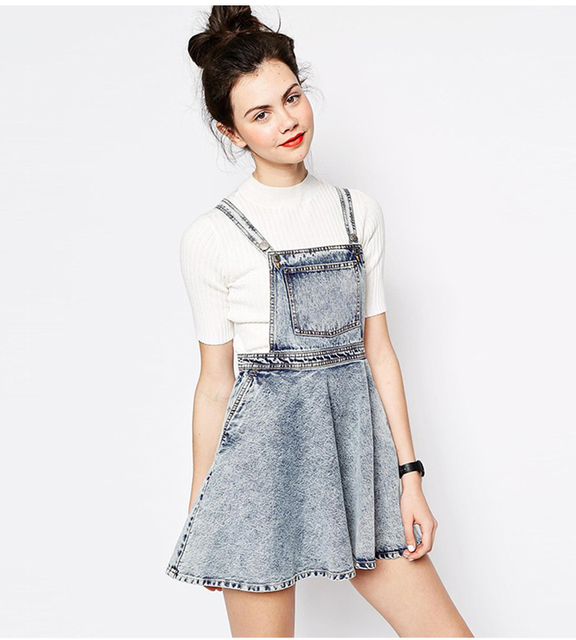 Slim High Waisted Suspender Skirt Plus Size Blue Jean Mini Skirt A ...