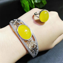 Natural chalcedony inlaid 925 silver bracelet ring live mouth two-piece female jewelry set