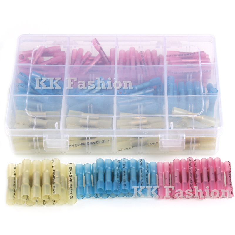 200pcs  Electrical Splice Terminators 22-10AWG Heat Shrink Wire Connectors Red Blue Yellow Insulated  Assorted Crimp Terminals 180pcs inserts humpback crimp splice terminals piggyback terminators 22 10awg kit heat shrink electrical wire connectors set