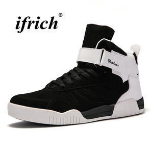0f99b6276e243b ifrich Man Black White High Top Sneakers Male Flat Shoes