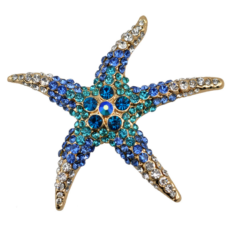 2016 summer 3 Kind Colors Optioneel Schattig Blue Crystal Rhinestone Starfish Broches voor vrouwen bruiloft