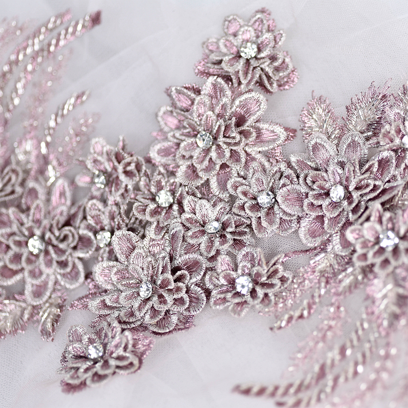 Beaded flower embroidery patch lace fabric applique Sewing wedding Bride Dress veil craft garment accessories decoration HB167
