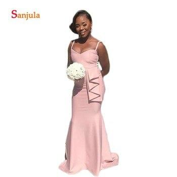 Spaghetti Straps Sheath Bridesmaid Dresses Long Satin Ruffless Waist Simple Wedding Party Dress for Women dama de honor D138 фото