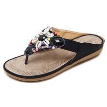 2d9bbfa0f LAKESHI 2018 sandalias Bohemias de verano para mujer zapatos de moda Sandalias  planas de piedras preciosas con cuentas florales .