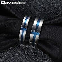 Davieslee Paare Ringe Edelstahl Schwarz Blau Gold Silber Farbe Kreuz Engagement Ringe Für Frauen Männer Liebhaber Mode DKRM35