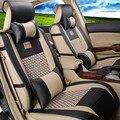 New PU LEATHER silk tampa do carro-universal auto car seat cover interior acessórios de luxo projeto do bordado para a frente e banco de trás